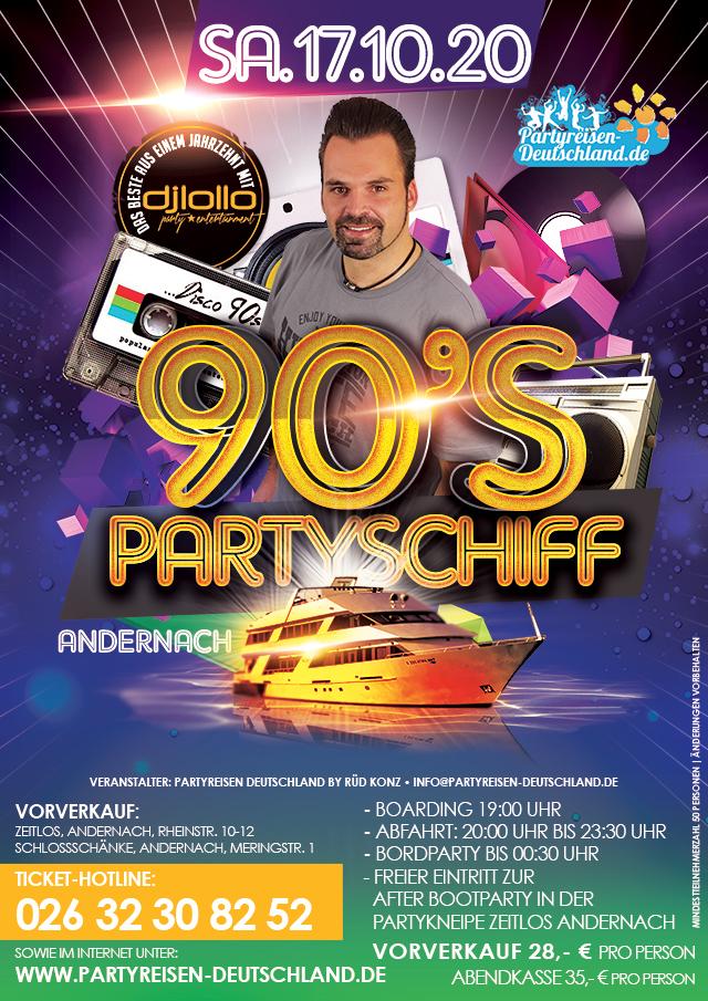90's Partyschiff auf dem Rhein 2020