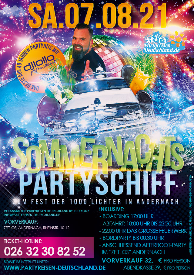 Sommernachts Partyschiff Andernach
